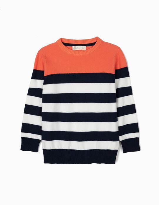 Jersey de Punto para Niño, Azul y Naranja