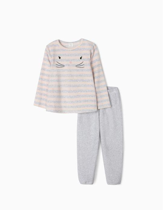 Pijama de Terciopelo para Niña 'Cute Cat', Gris/Rosa Claro