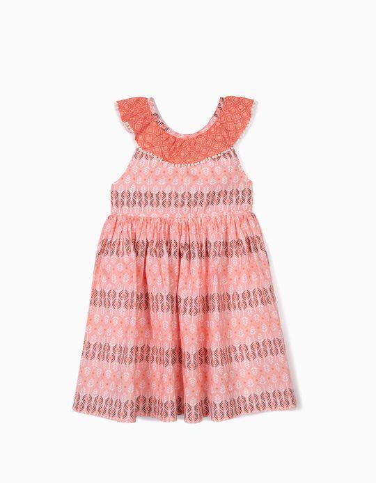 Vestido Estampado para Niña, Coral