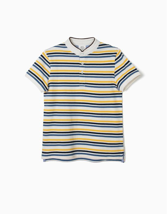 Polo para Niño con Cuello Mao y Rayas, Blanco y Azul