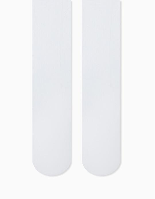 Plain Tights for Girls 40 DEN, White