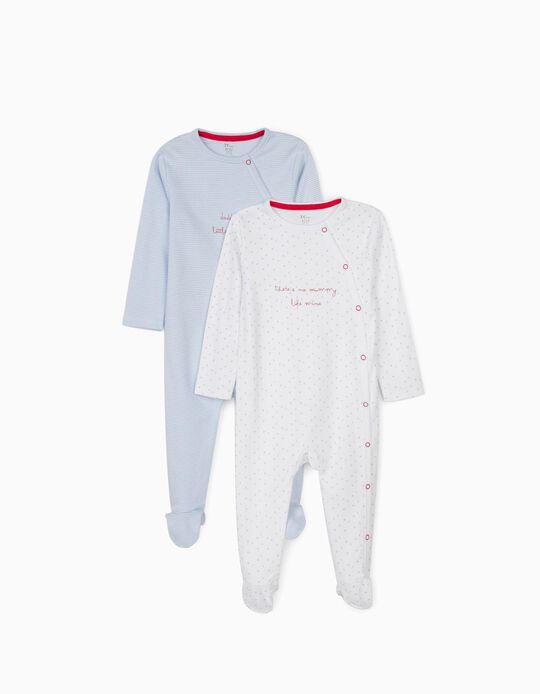 2 Babygrows para Bebé Menino 'Stripes & Stars', Branco/Azul