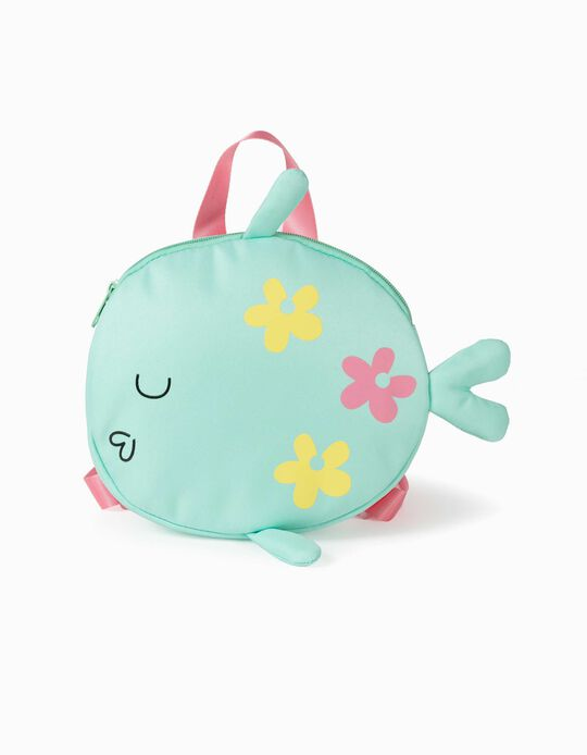Backpack for Girls, 'Fish', Green/Pink