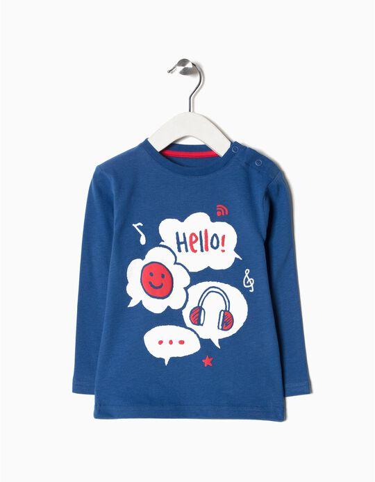 T-shirt manga comprida Hello!
