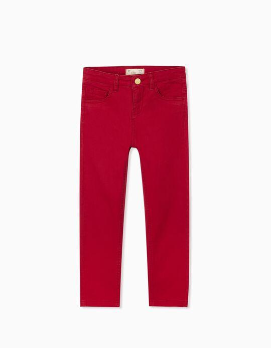 Calças Sarja para Menina, Vermelho Escuro