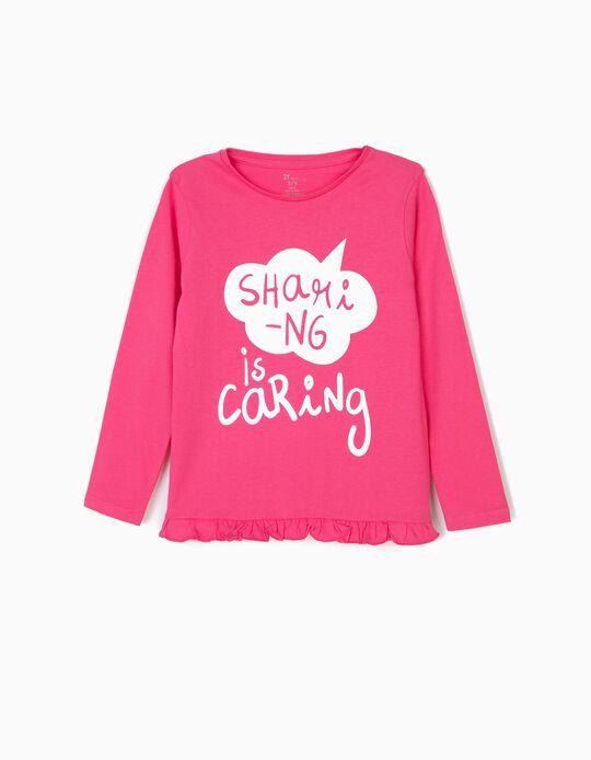 Camiseta de Manga Larga para Niña 'Sharing is Caring', Rosa