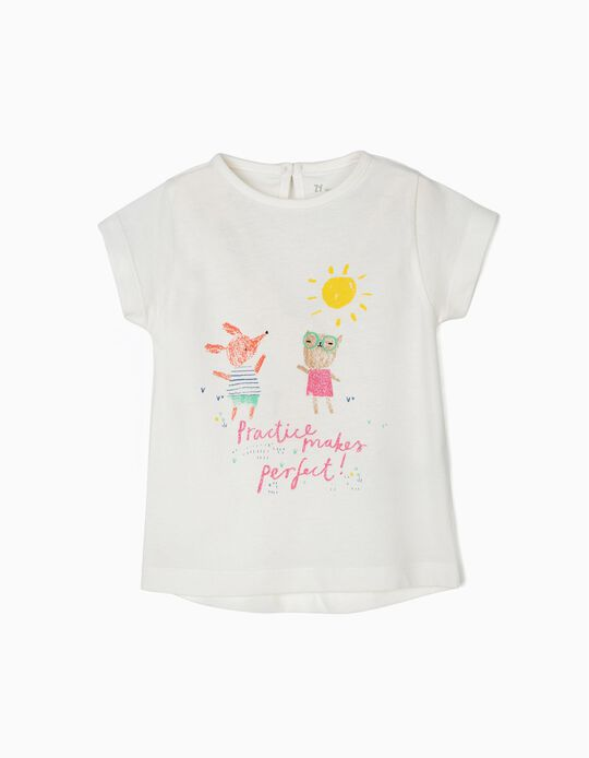 Camiseta para bebé Niña 'Practice Makes Perfect', Blanca