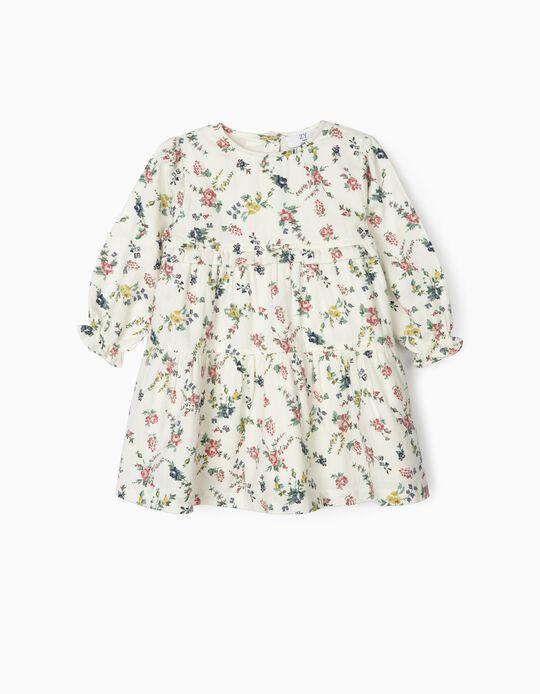 Vestido para Bebé Niña 'Flores', Blanco