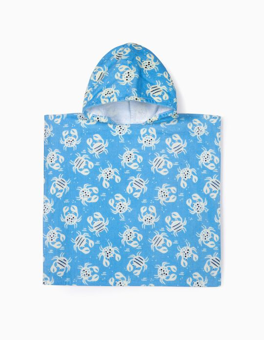 Beach Poncho for Babies, 'Crabs', Blue