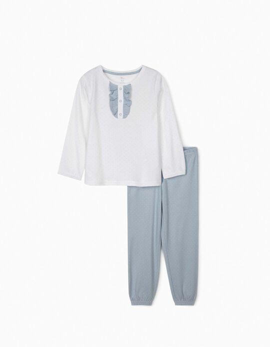 Pijama para Menina 'Dots', Branco/Azul