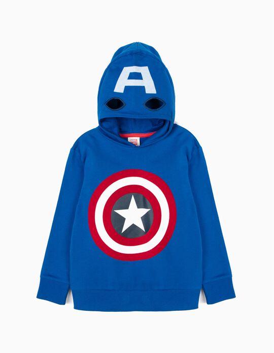 Sudadera con Capucha-Máscara para Niño Capitán América, Azul