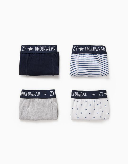 4 Boxers para Menino 'Stars' & Stripes', Multicolor