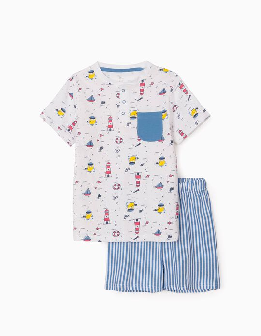 Pyjamas for Boys, 'Sailor', White/Blue