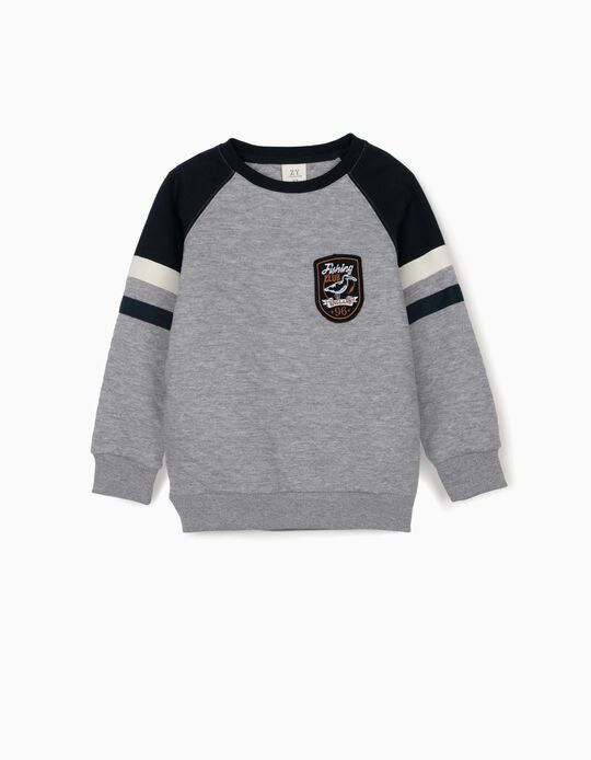 Sweatshirt para Menino 'Fishing Club', Cinza