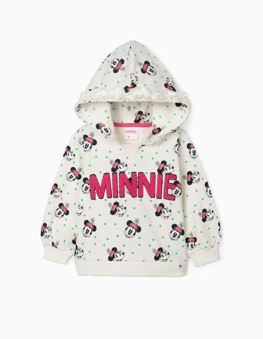 Hooded Sweatshirt for Girls, 'Minnie', White