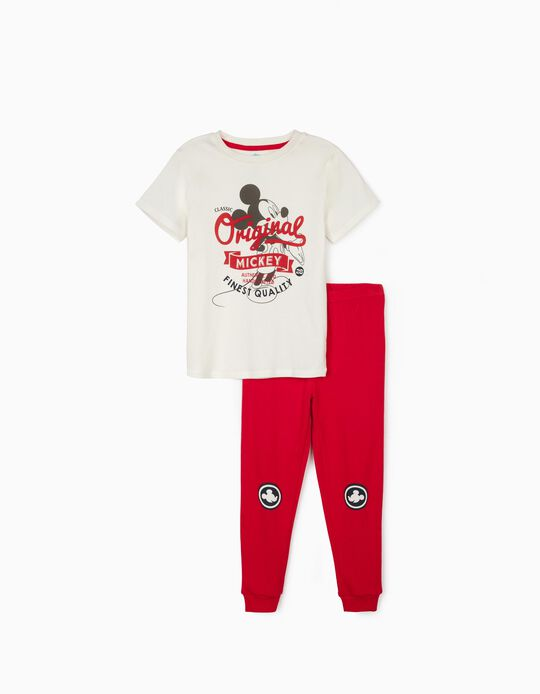 Pyjamas for Boys, 'Classic Mickey Mouse', White/Red