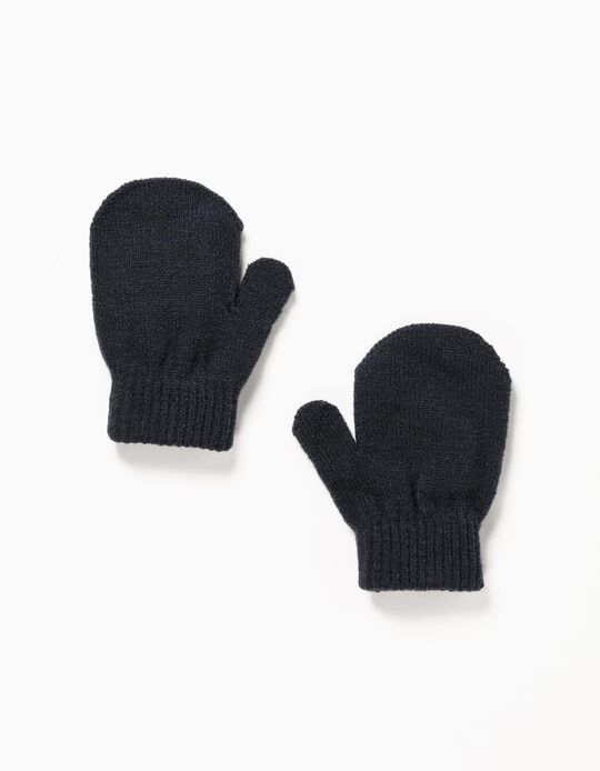 Knitted Mittens for Babies, Dark Blue