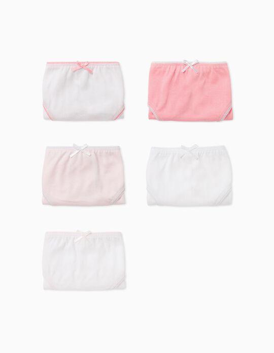 5 Culottes Fille, Rose/Blanc
