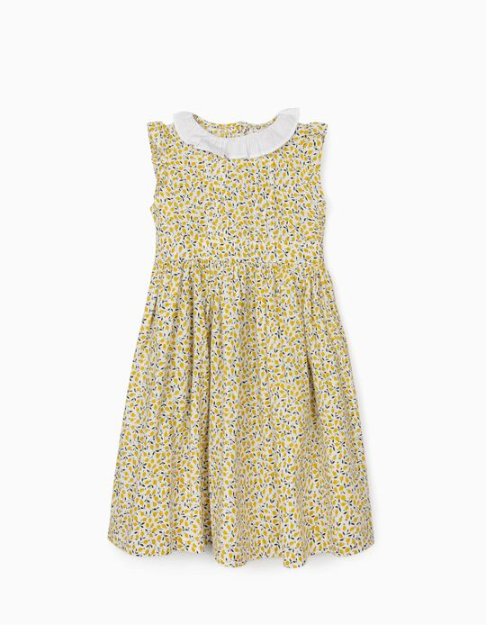 Dress for Girls, Lemons, White/Yellow