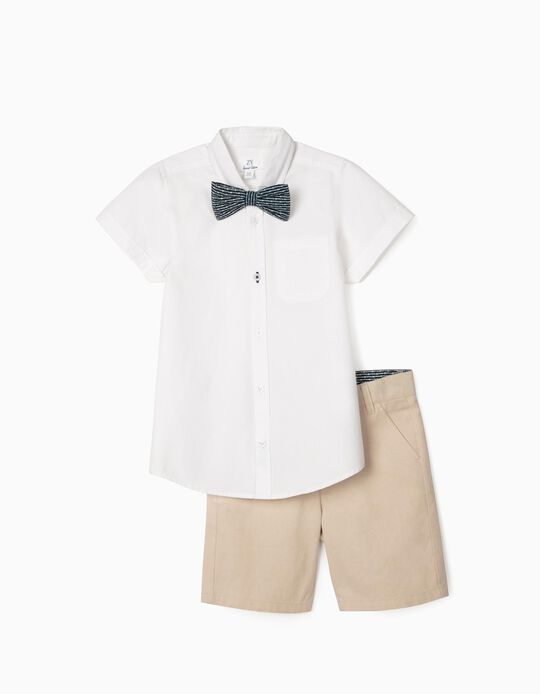 Shirt, Bow Tie & Shorts for Boys, White/Beige