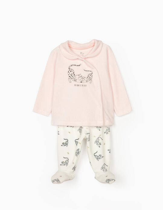 Pyjama velours nouveau-née 'Mom', rose/blanc