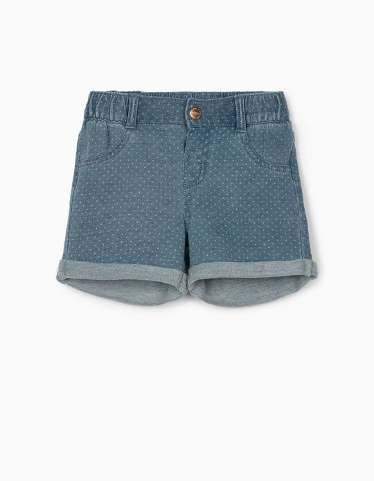 Denim Shorts for Baby Girls, 'Dots', Blue