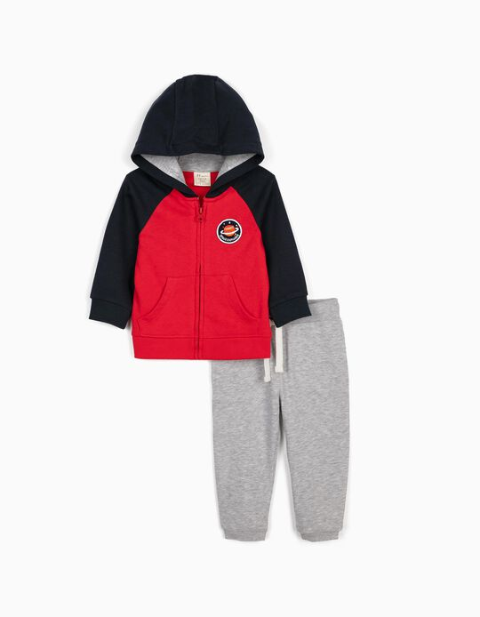 Tracksuit for Baby Boys, 'Space Explorer', Blue/Red/Grey