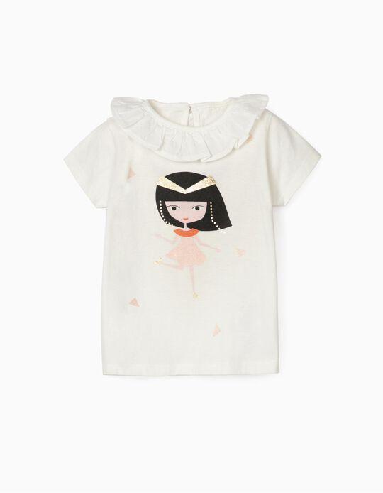 T-shirt para Bebé Menina 'Cleopatra', Branco