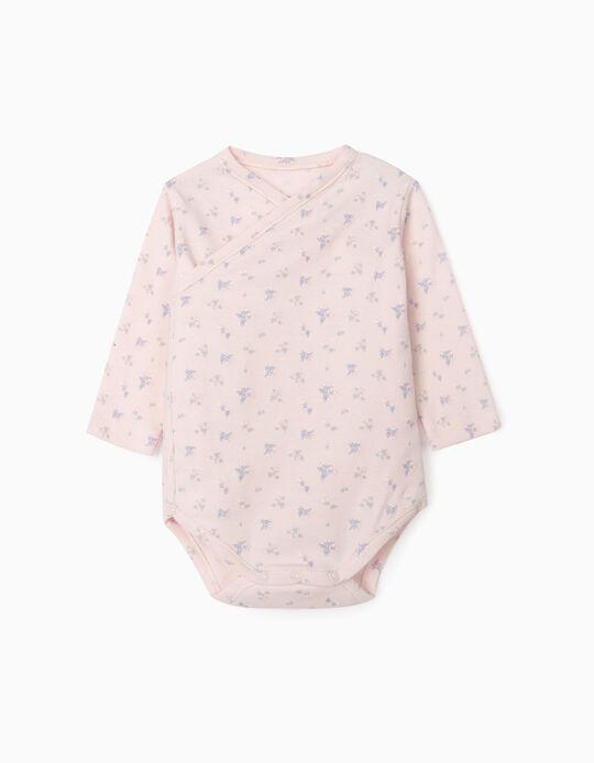 Long Sleeve Bodysuit for Newborn Baby Girls, 'WH', Light Blue