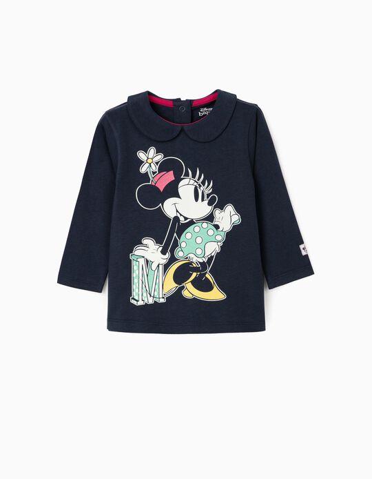 T-Shirt de Manga Comprida para Bebé Menina 'Minnie', Azul Escuro