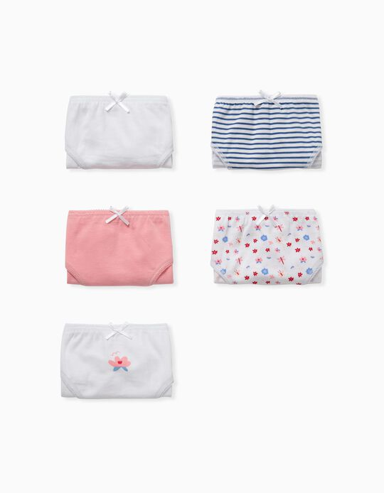 5 Braguitas para Niña 'Stripes & Flowers', Rosa/Blanco/Azul
