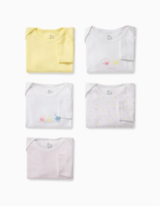 5 Bodies para Bebé Niña 'Little Birds', Blanco, Rosa y Amarillo