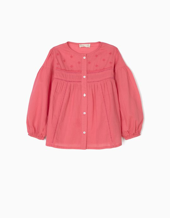 Textured Blouse for Girls, Pink