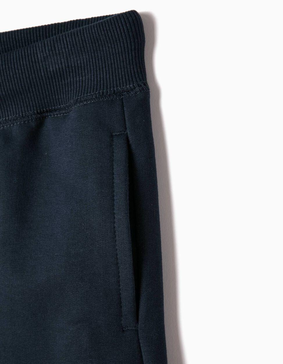 Pantalón de Chándal Azul con Bajos a Rayas