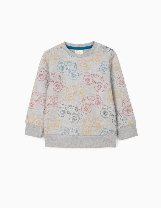 Sweatshirt para Bebé Menino 'Trucks', Cinza