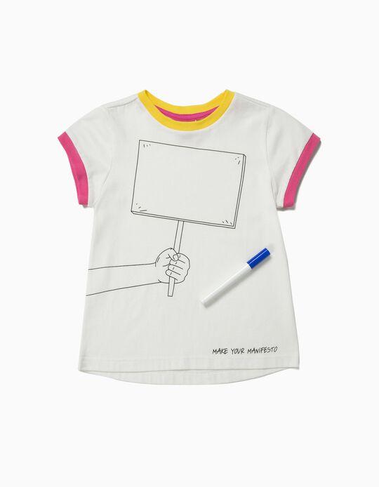 T-shirt para Menina 'Make Your Manifesto', Branco