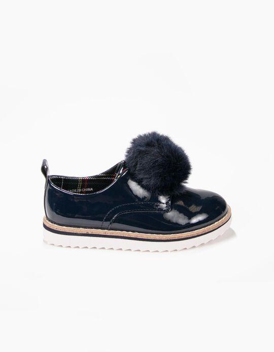 Sapatos Verniz Azuis com Pompom