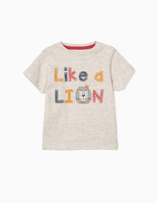 Camiseta para Bebé Niño 'Like a Lion', Gris