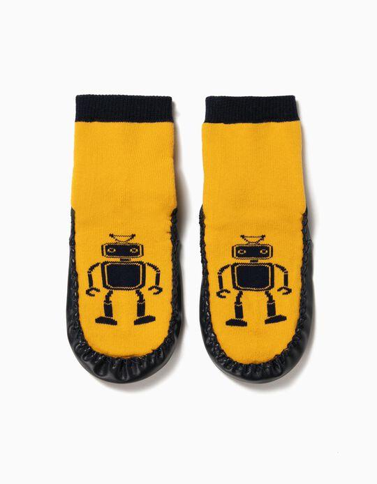 Calcetines Pantuflas Antideslizantes para Niño 'Robots', Amarillo