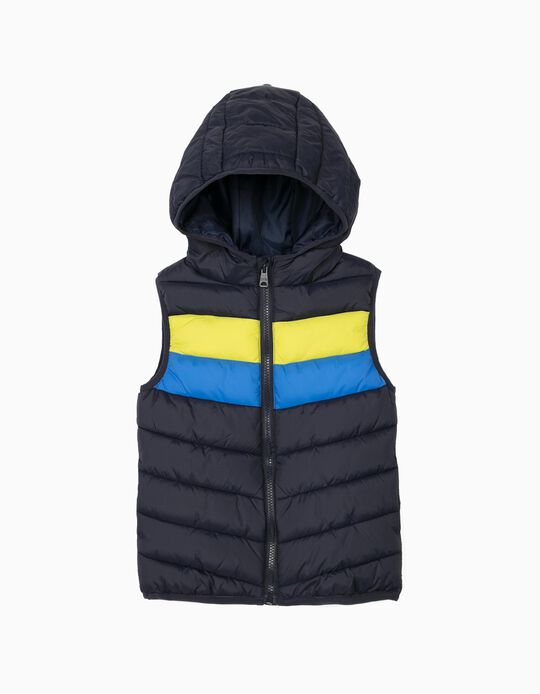 Hooded Bodywarmer for Boys, Padded, Dark Blue