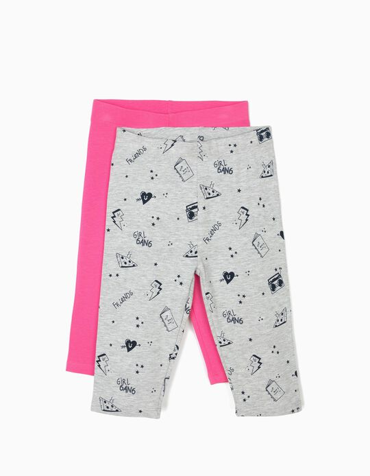 2-Pack Capri Leggings for Girls 'Cool', Grey and Pink