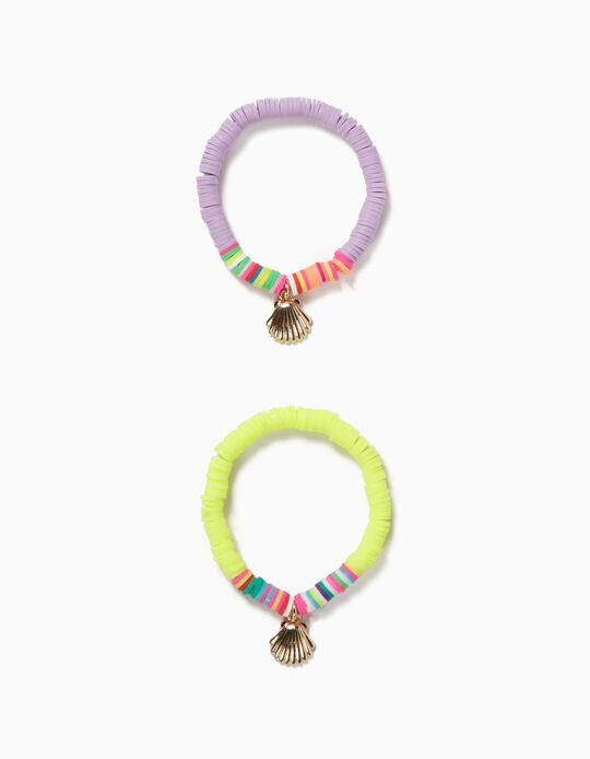 2 Bracelets with Beads for Girls, 'Starfish', Pink/Neon Yellow