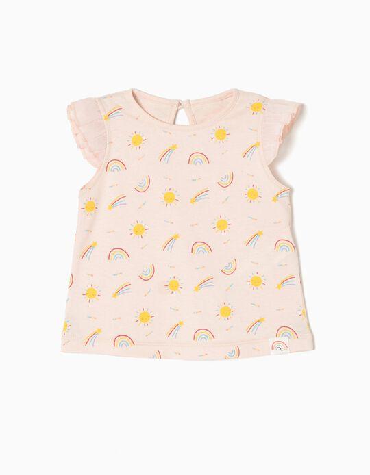 T-shirt para Bebé Menina 'Happy', Rosa Claro