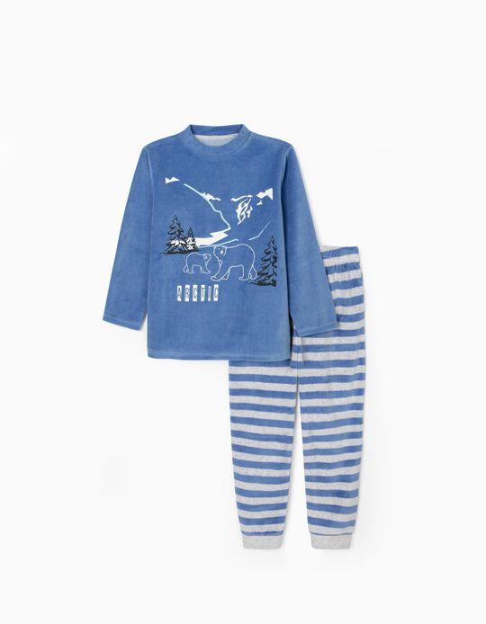 Pijama Terciopelo para Niño 'Artic', Azul/Gris