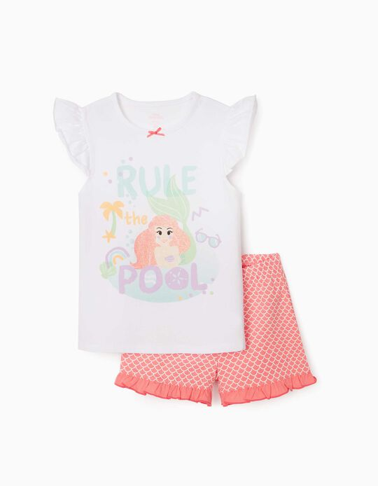 Pyjama fille 'Little Mermaid', blanc/rose
