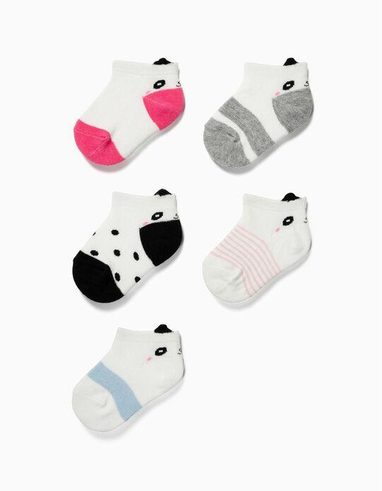 5 Pares de Meias Curtas para Bebé Menina 'Panda', Multicolor