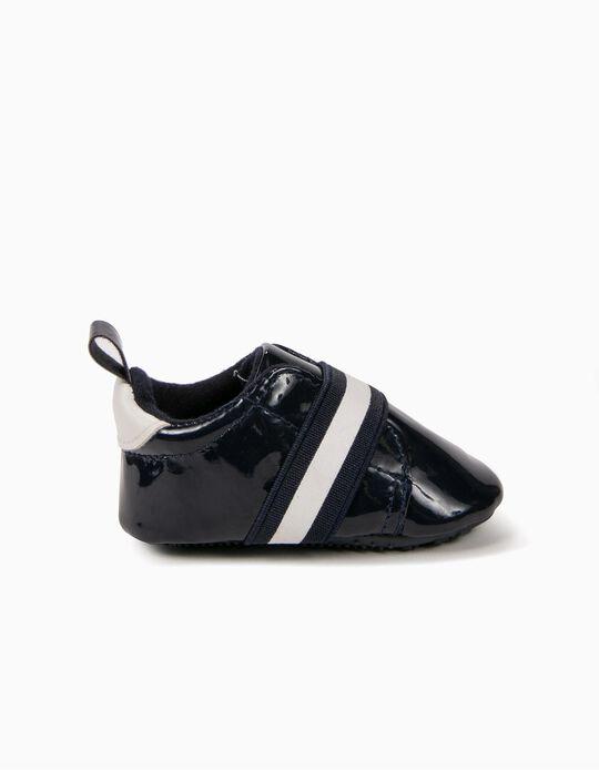 Zapatillas de Charol para Recién Nacido con Elástico, Azul y Blanco