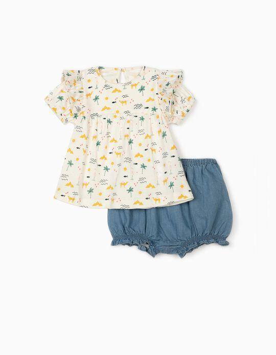 T-shirt e Calções Denim para Bebé Menina 'Camels', Branco/Azul