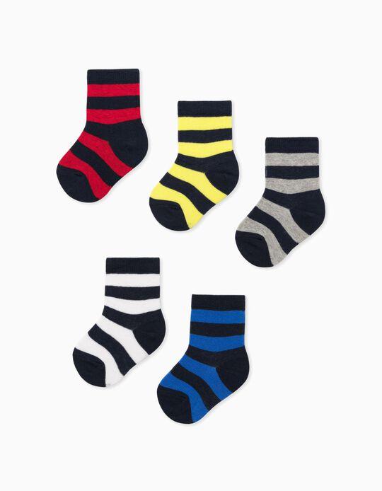 5 Pares de Meias para Bebé Menino 'Stripes', Multicolor