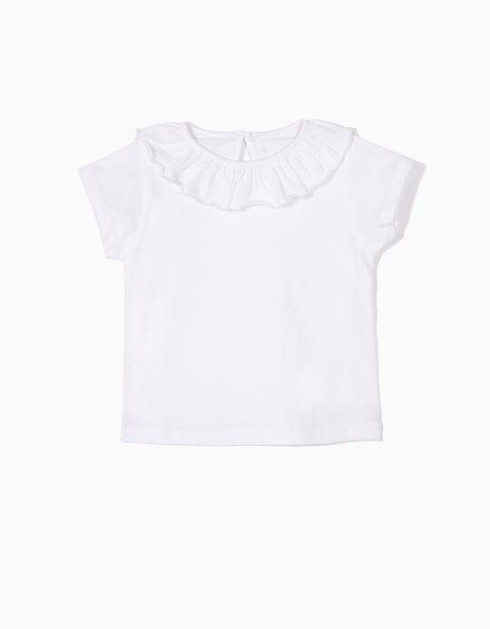 T-shirt para Bebé Menina com Folho, Branco
